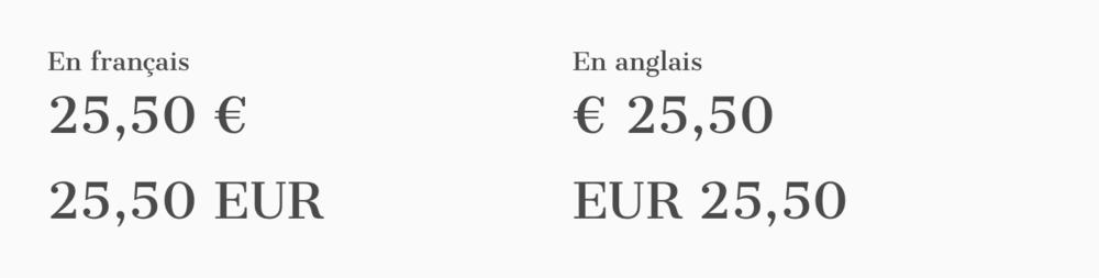 Notation des Euros.