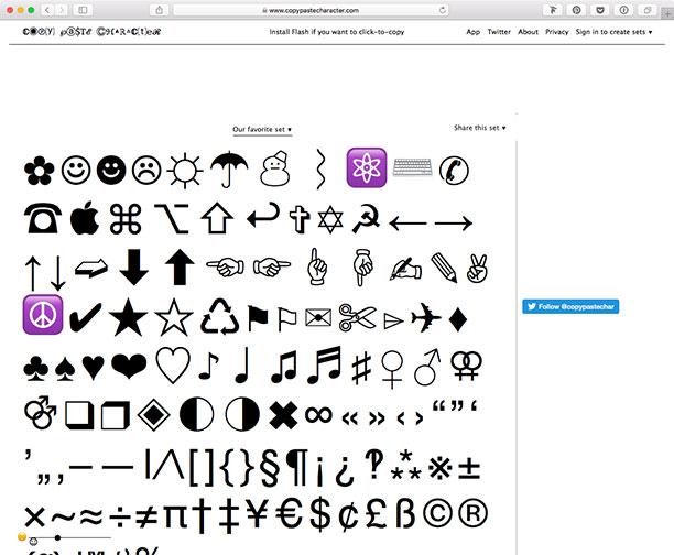 Capture d'écran du site CopyPasteCharacter.