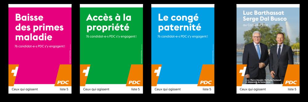 Quatre affiches pour le PDC. Trois reprenant les sujets du Grand Conseil, une présentant les deux candidats au Conseil d'Etat.