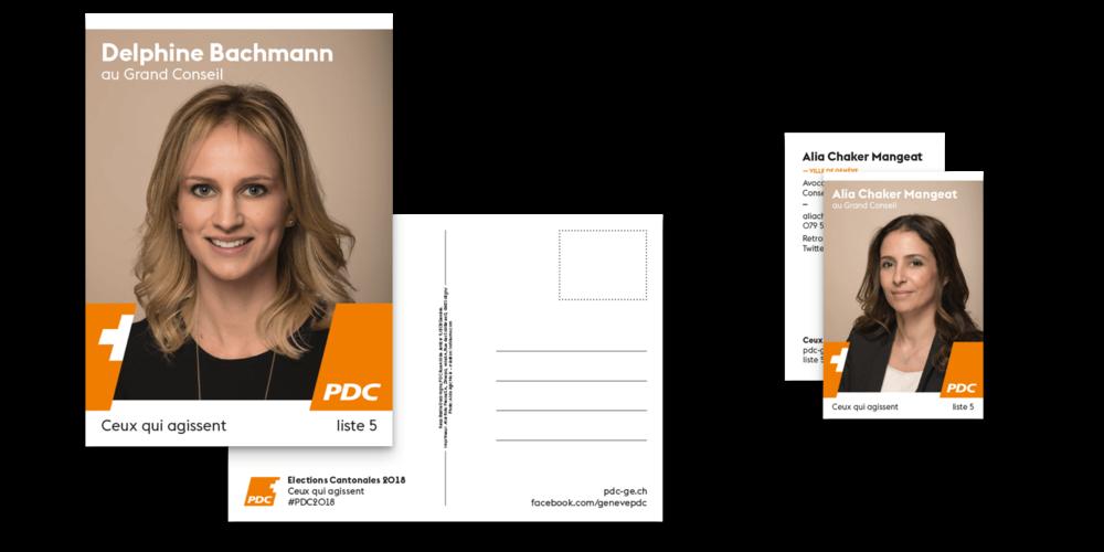 Exemple de kit candidat avec un flyer A5 et une carte de visite.