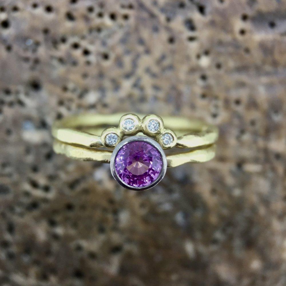 18ct Yellow Fair Trade Gold Tiara Ring with White Diamonds
