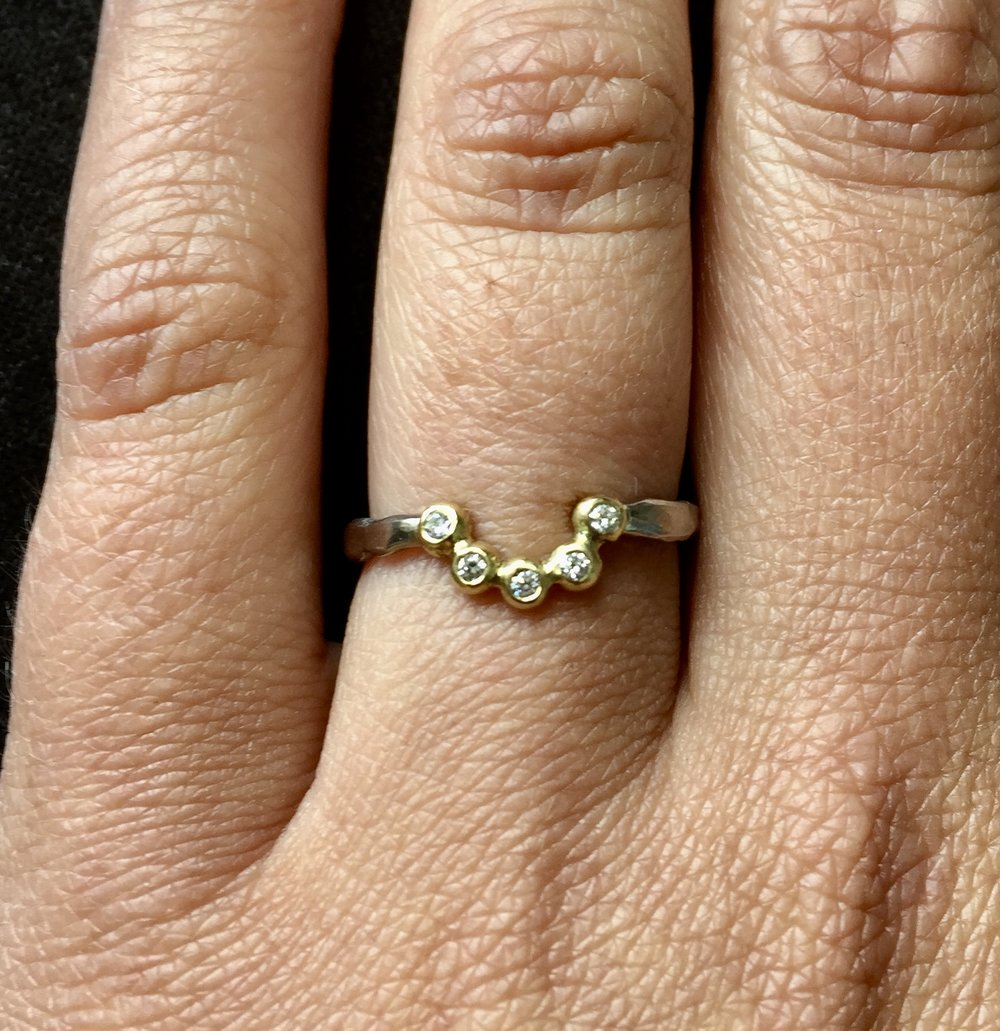 18ct White and Yellow Fair Trade Gold Tiara Ring