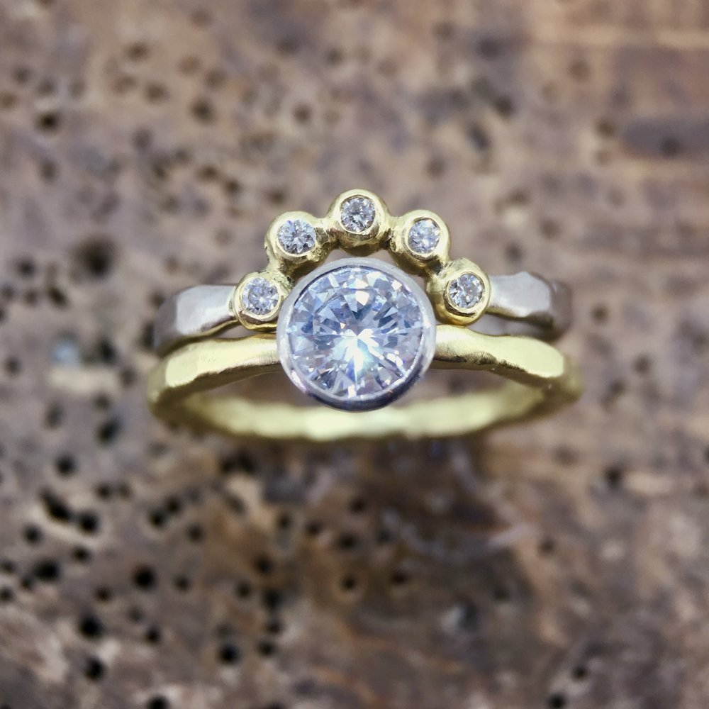Diamond Tiara Ring in 18ct White and Yellow Fair Trade Gold