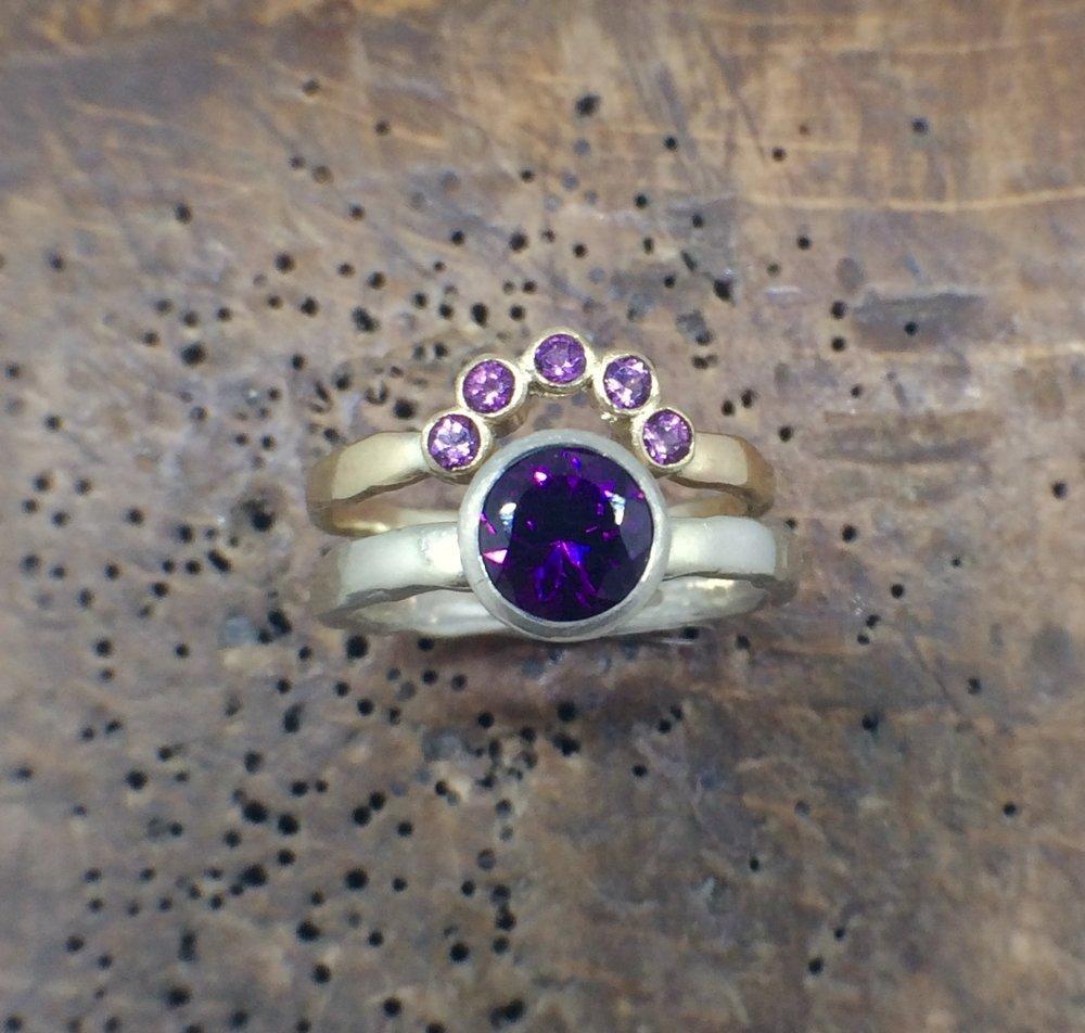 Purple Garnet Tiara Ring in 9ct Yellow Gold