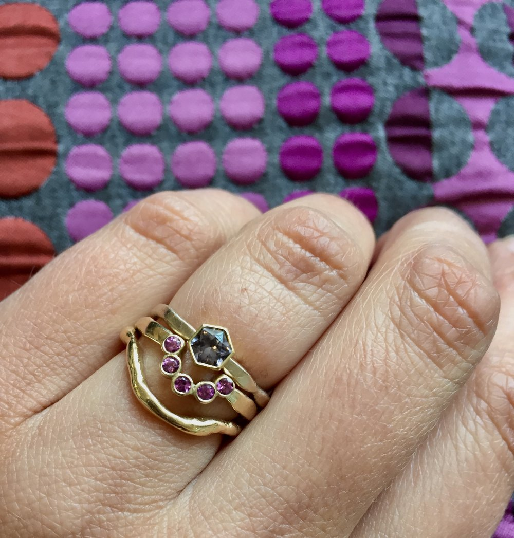 Create Your Own Ensemble - Stacking rings are an easy way to reflect your mood, the changing colours of the season or just experiment with pieces in your jewellery box. Tiara rings are brilliant at fitting around and framing other rings.