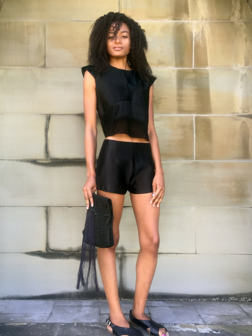 Pony Hair, Crystal-Pleat Silk, & Laser-Cut Leather Crop Top + Wave Pleat Short + Laser-Cut Leather & Fringe Clutch