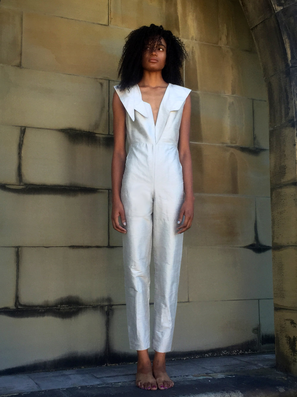 Sage Silk Dupioni Jumpsuit with Asymmetric Lapels