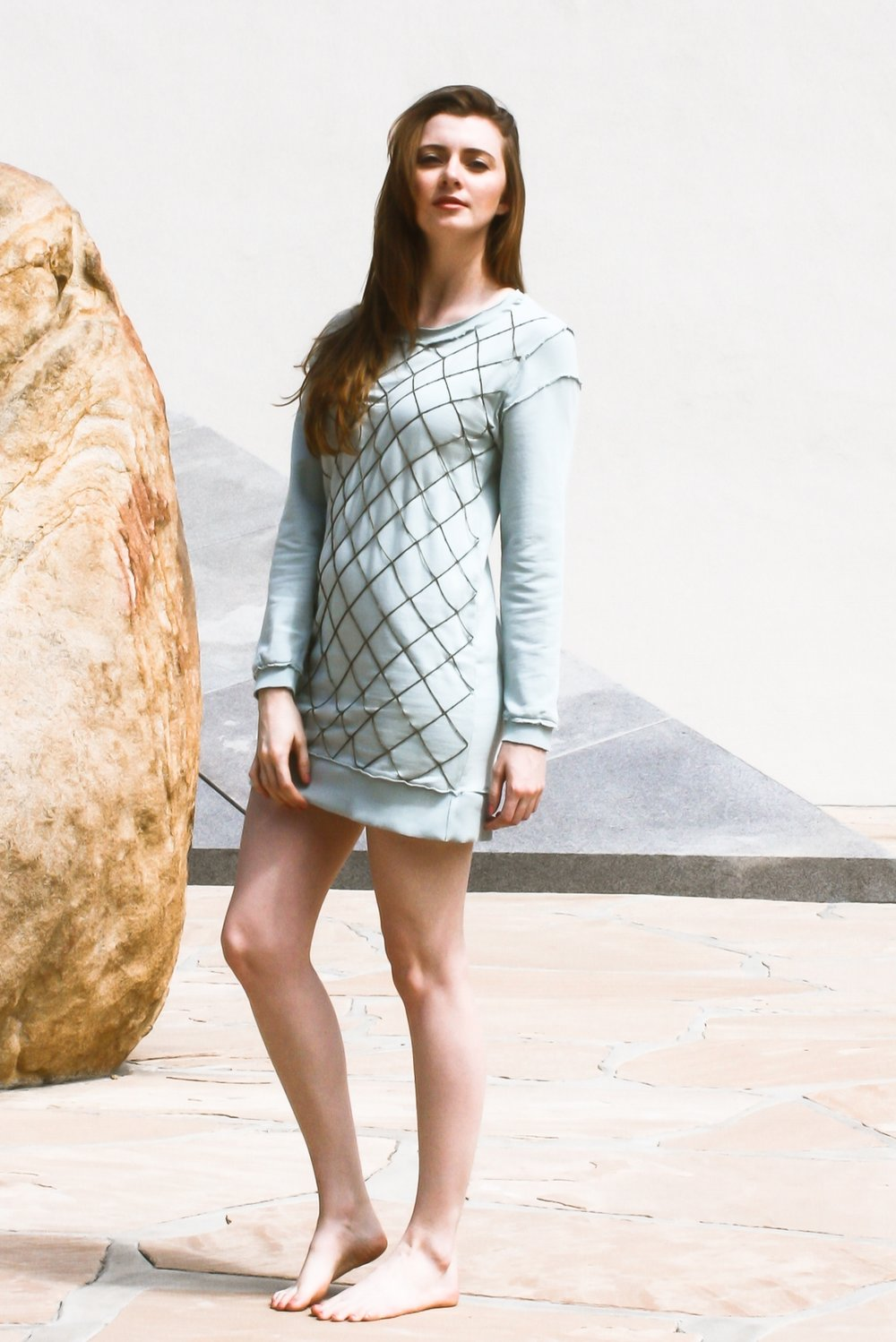 "Chain ""Netting"" Embellished Sweater Dress"