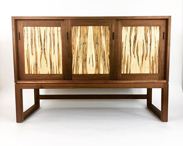 #walnut sideboard with ambrosia maple sliding panels and ebony pulls #furniture #interiordesign #design #furnituredesign #woodworking #wood #handmade #handcrafted #midcenturymodern