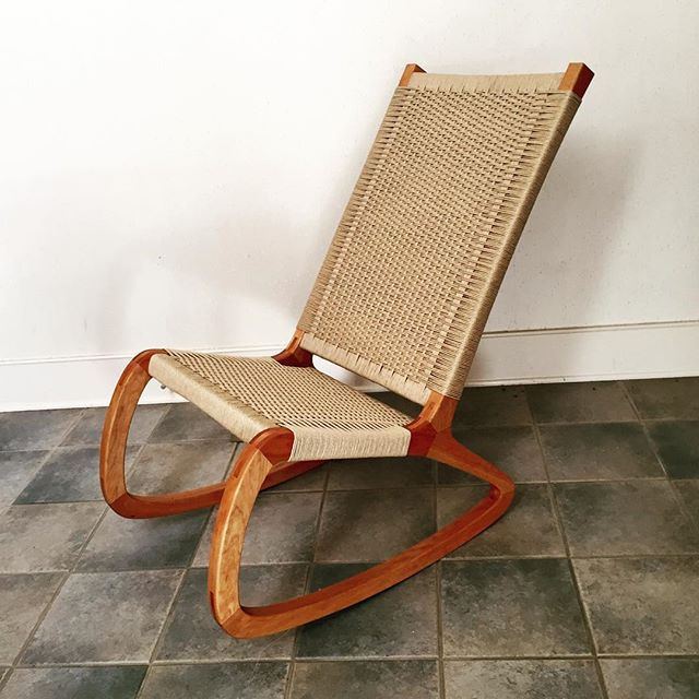 Cherry and Danish cord rocking chair #woodworking #rockingchair #handmade #cherry #wood  #danishcord #connecticut #weaving