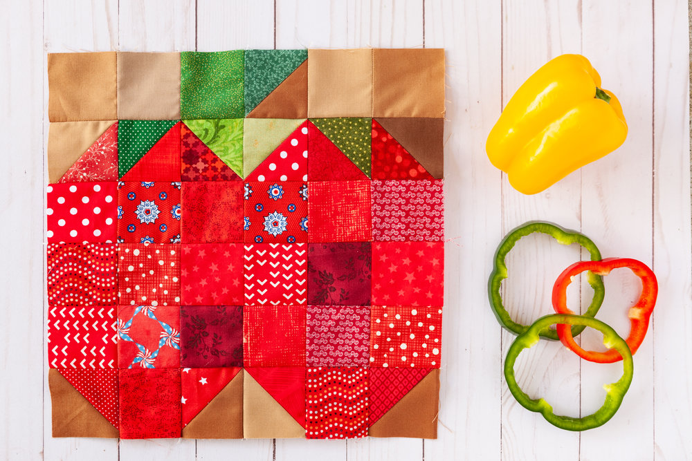 Bell Pepper - A Veggie Patch Block by Katie Mae Quilts