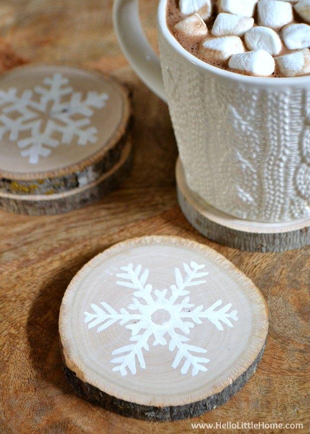 Make   DIY Wood Slice Coasters (via Hello Little Home )