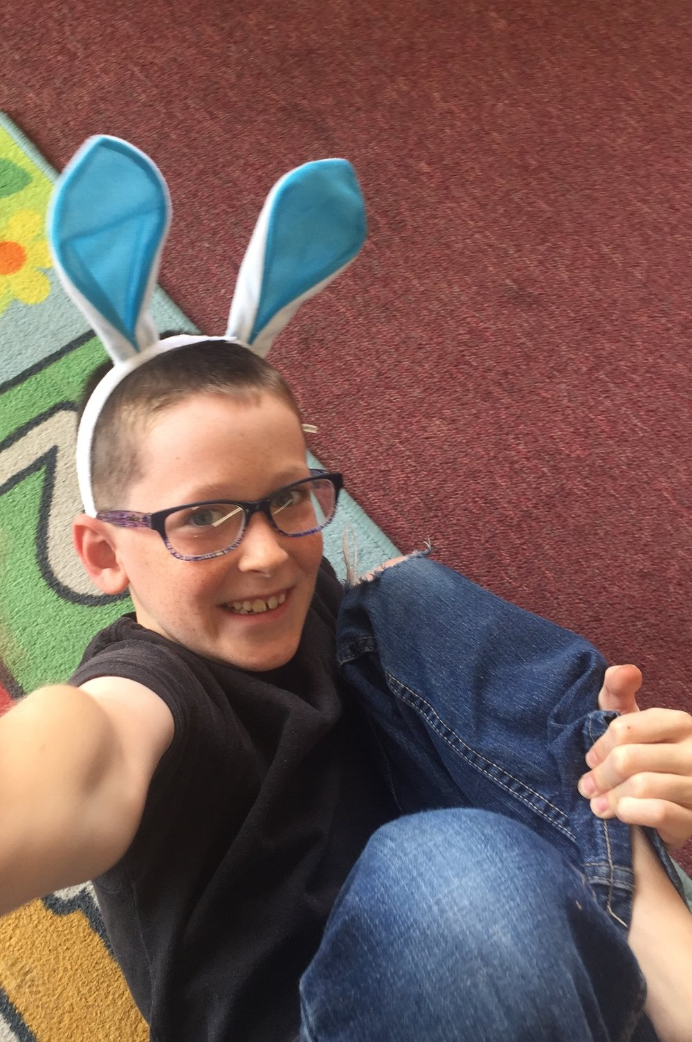 Titus emjoys pretending to be a bunny on Mammal day