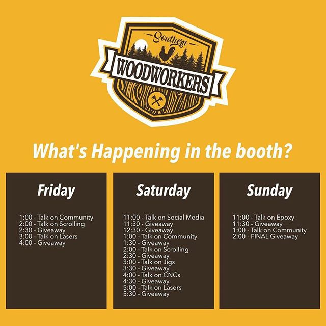 Buckle up for a fun filled weekend if you're gonna be in Atlanta for the Atlanta Woodworking Show! Come see us #southernwoodworkers #woodworkingcommunity #making #buildingcommunity #makersgonnamake #woodworking #atlanta #georgia