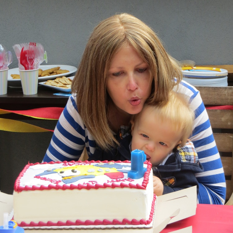 Liz with Lucas for his first birthday