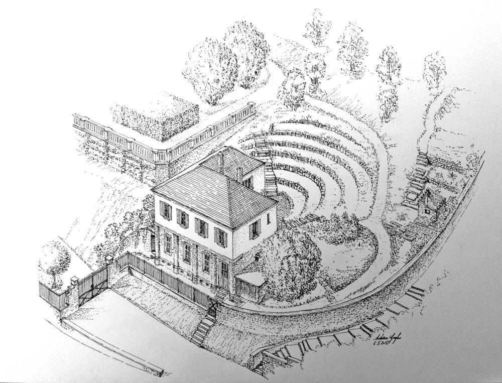 Das Atelierhaus Am Villaberg. Zeichnung: Achim Gogler.
