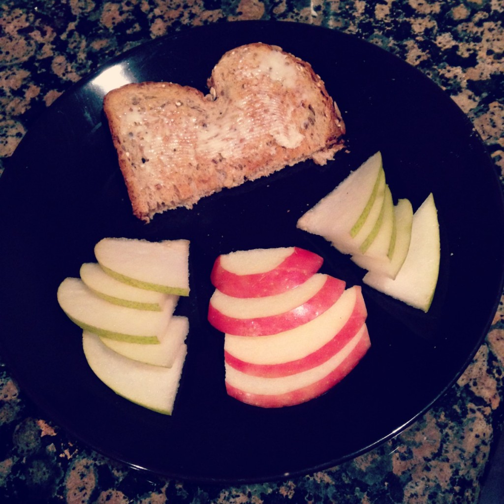 A common meal the week post-infusion: fresh fruit, buttered toast.