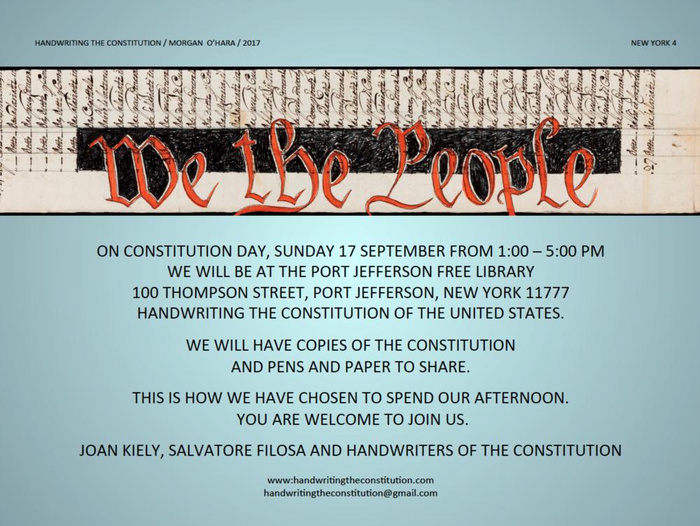 17 SEPTEMBER 2017constitution dayPORT JEFFERSON, NY - collaborators joan kiely andsalvatore filosa