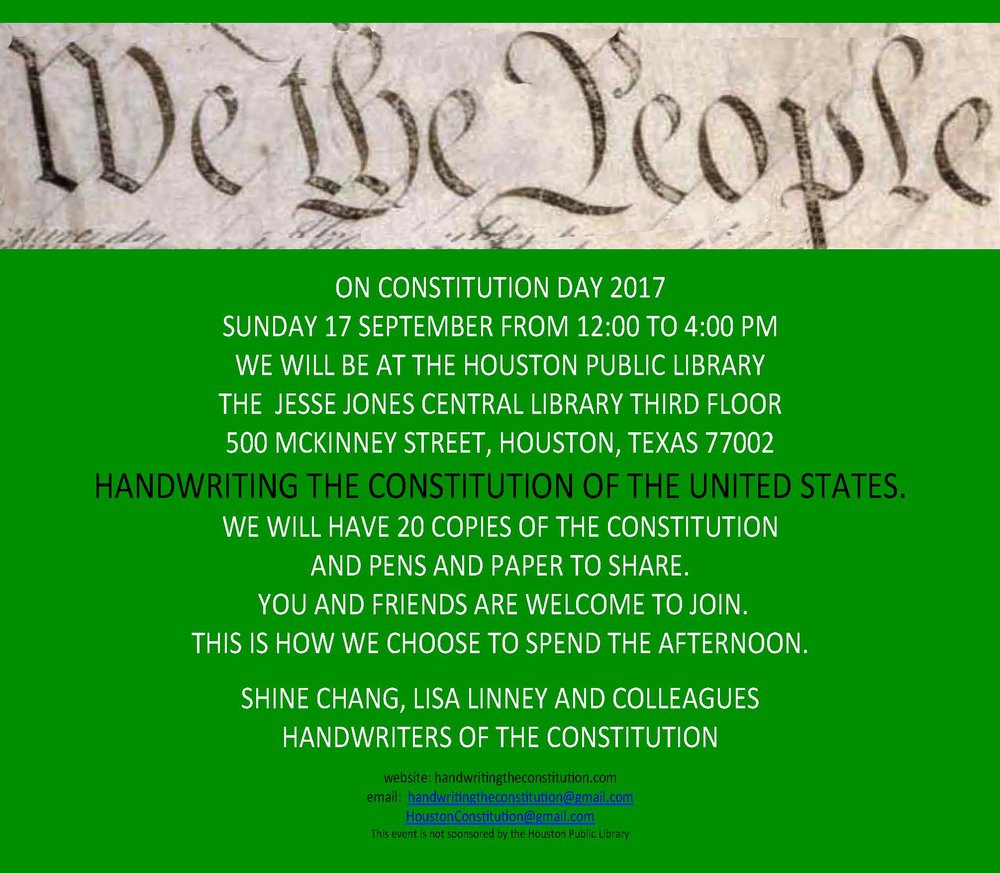 17 SEPTEMBER 2017CONSTITUTION DAYHOUSTON, TX  - COLLABORATORs SHINE CHANG AND LISA LINNEY