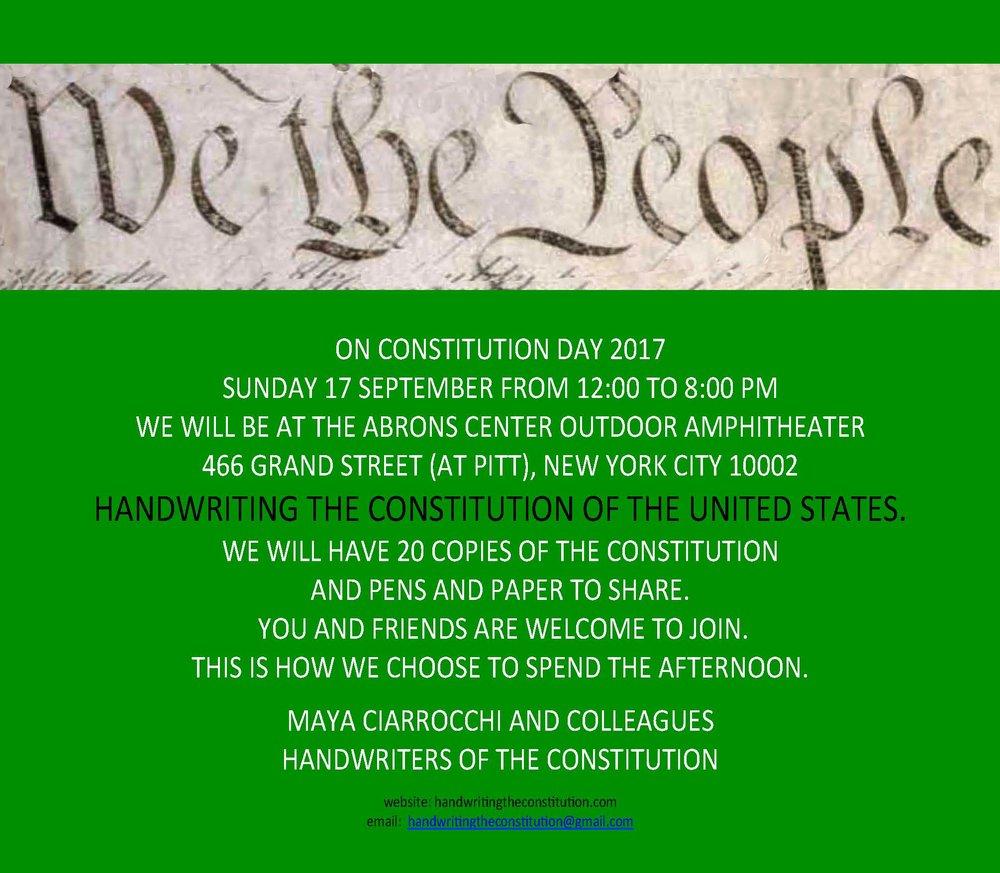 17 SEPTEMBER 2017CONSTITUTION DAYNEW YORK CITY - COLLABORATOR MAYA CIARROCCHI