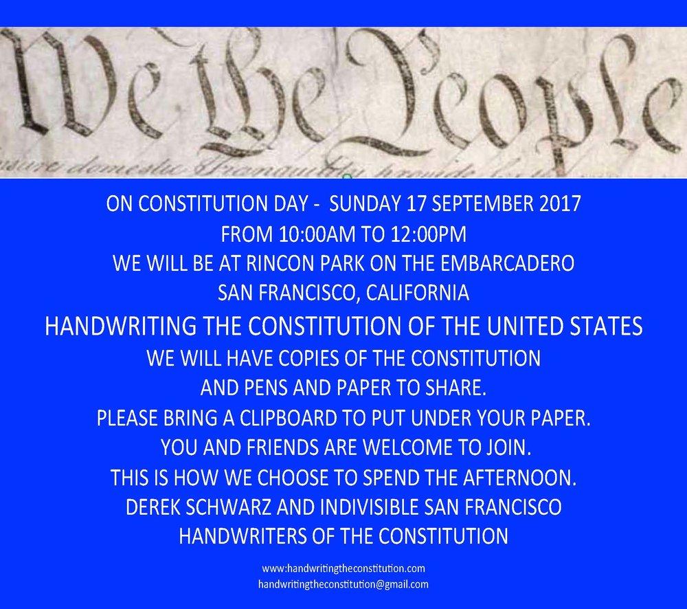 17 September 2017constitution daySan Francisco, CA - collaborators derek schwarz andindivisible san francisCo
