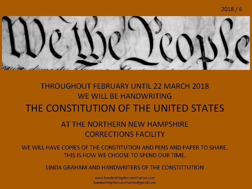 FEBRUARY UNTIL22 MARCH 2018 - SESSION 49NORTHERN NEW HAMPSHIRE CORRECTIONS FACILITYCOLLABORATOR LINDA GRAHAM