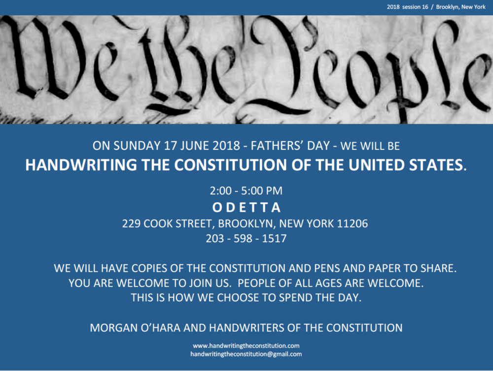 BROOKLYN, NY - SUNDAy 17 JUNE 2018, 2:00 - 5:00 PMODETTAwith morgan o'hara andhandwriters of the constitution