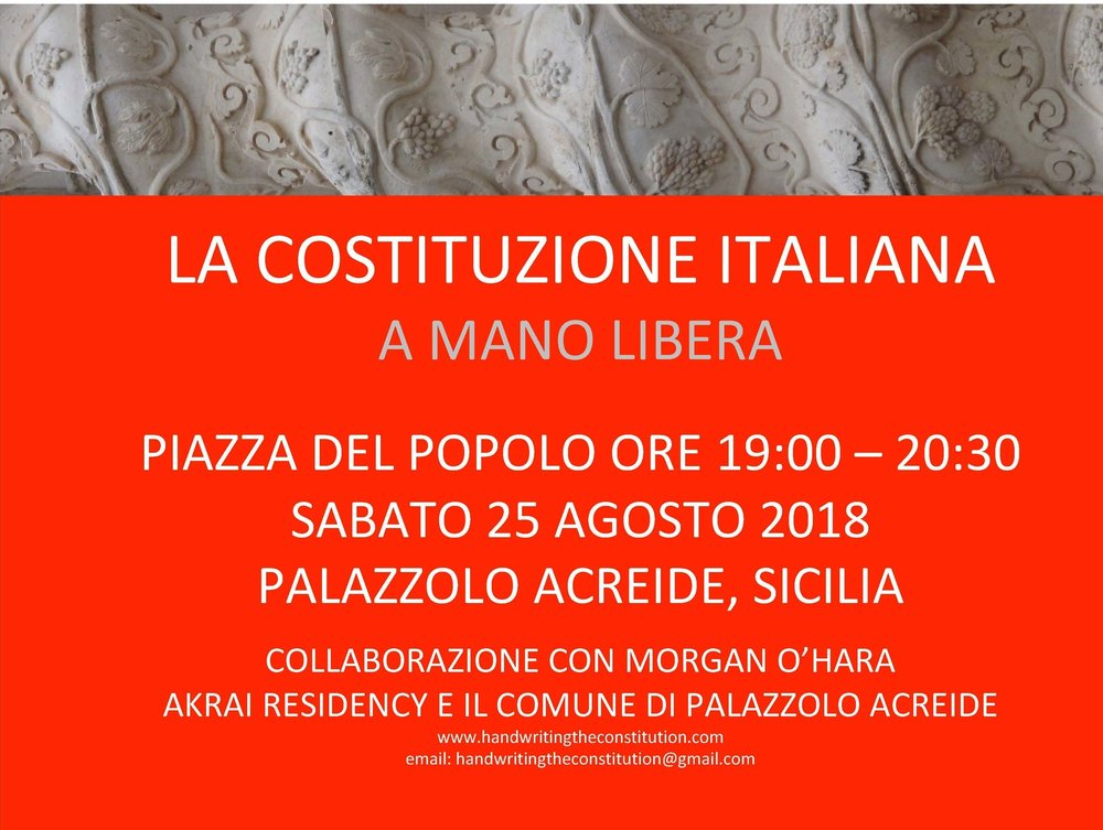 25 AUGUST 2018Sicily, Italy - session 64Morgan O'hara, akrai residency and themunicipality of palazzolo acreide
