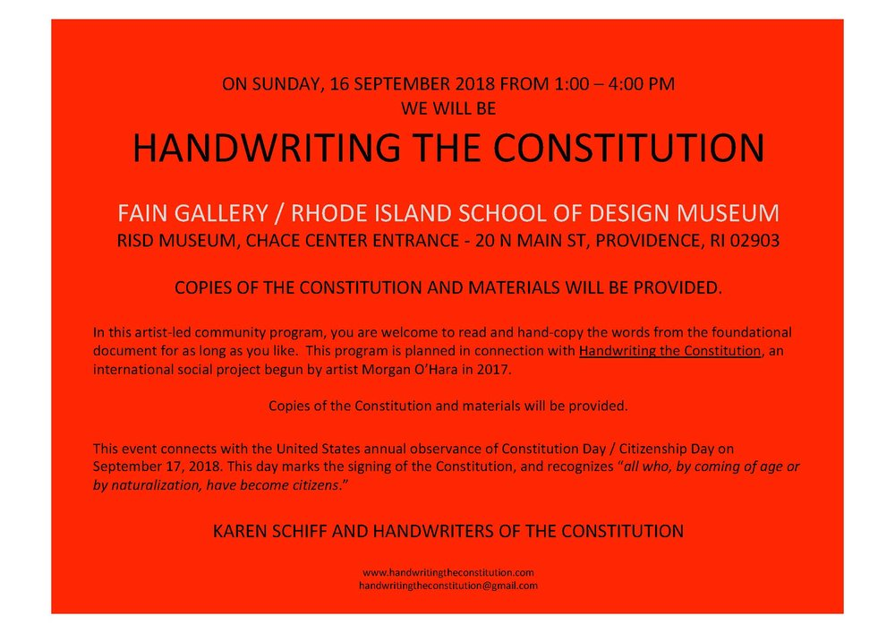 16 SEPtember 2018providence, RI - session 66collaborators karen Schiff and the rhode island school of design museum staff