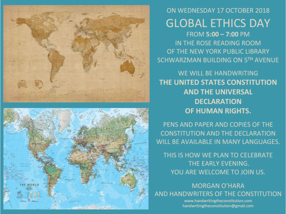 17 october 2018global ethics dayNew York City - with morgan o'hara