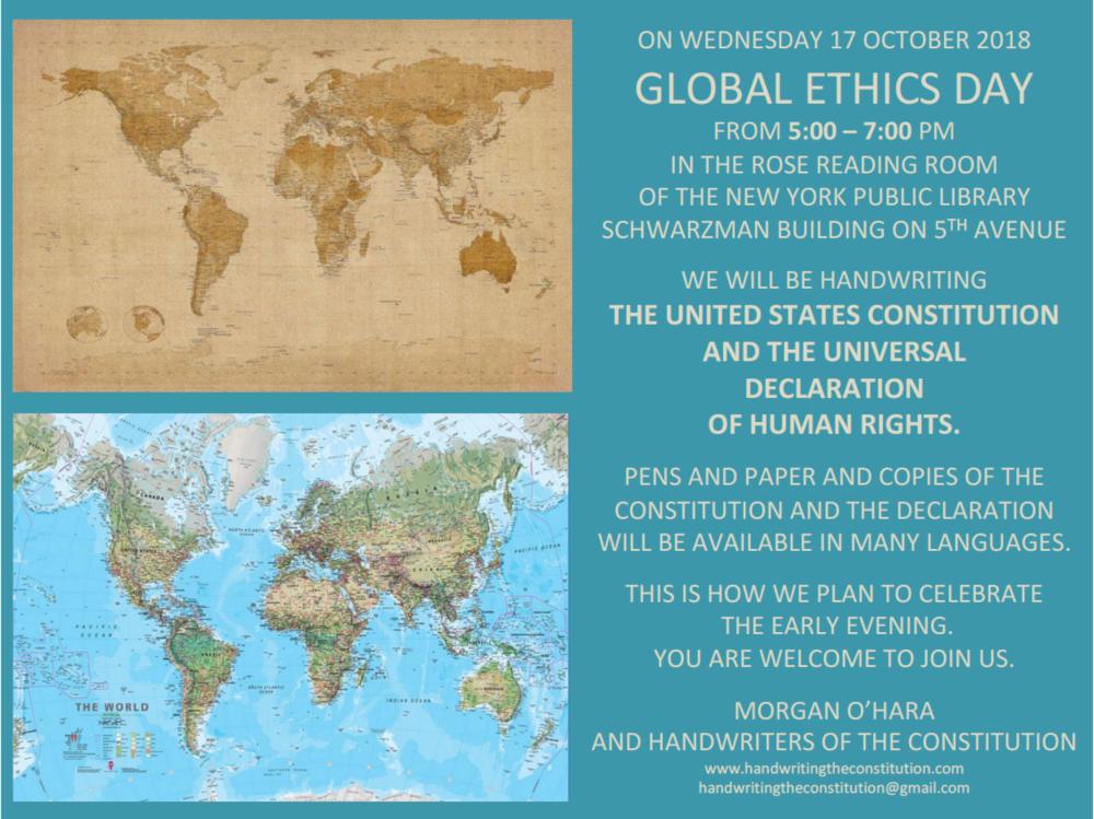 17 october 2018global ethics dayNew York City - with morgan o'hara