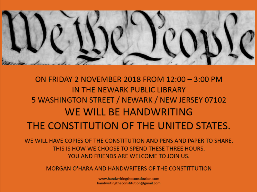 2 NOVEMBER 2018NEWARK, NJ - WITH MORGAN O'HARA AND IAN COFRE/ Newark rhythms