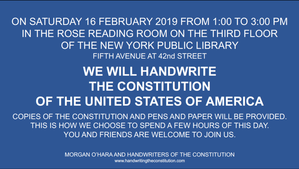 16 FEBRUARY 2019New york city - Session 90MORGAN O'HARA AND Handwriters of the Constitution