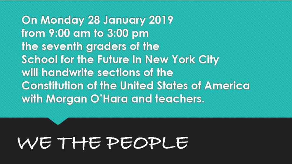 28 January 2019new york city - session 87with morgan o'hara and the school of the future