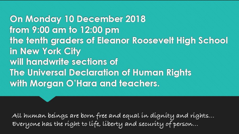 10 december 2018new york city - session 85morgan o'hara and tenth graders of eleanor roosevelt high school