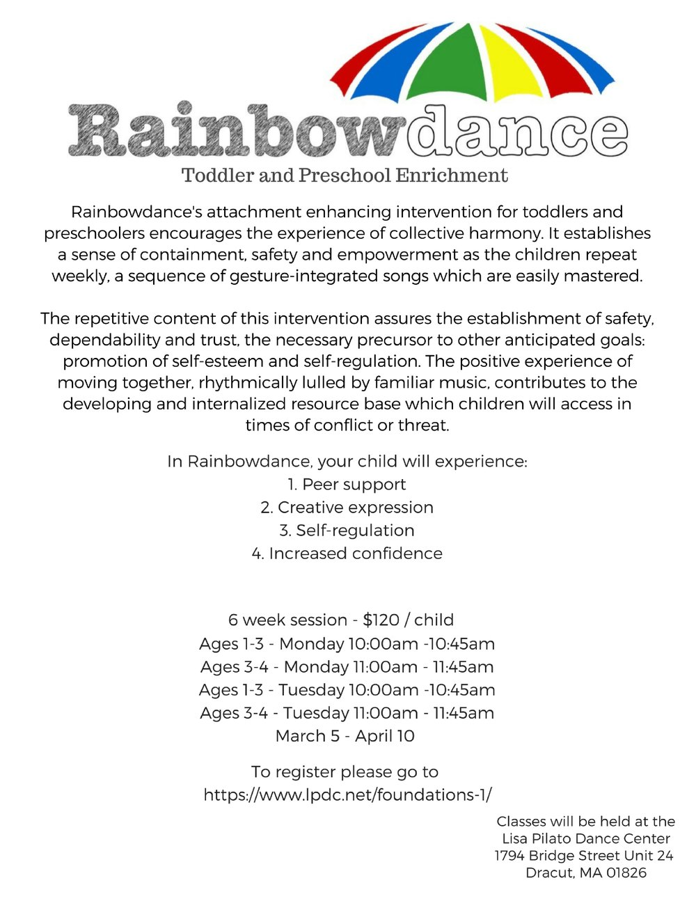 Classes will be held at the Lisa Pilato Dance CenterBridgewood Plaza 1794 Bridge Street Unit 24Dracut, MA 01826978-866-7038-2.jpg