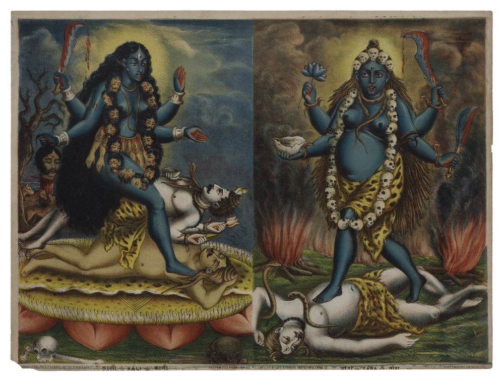 Kali / Tara, lithograph, c. 1885, Calcutta Art Studio, Calcutta
