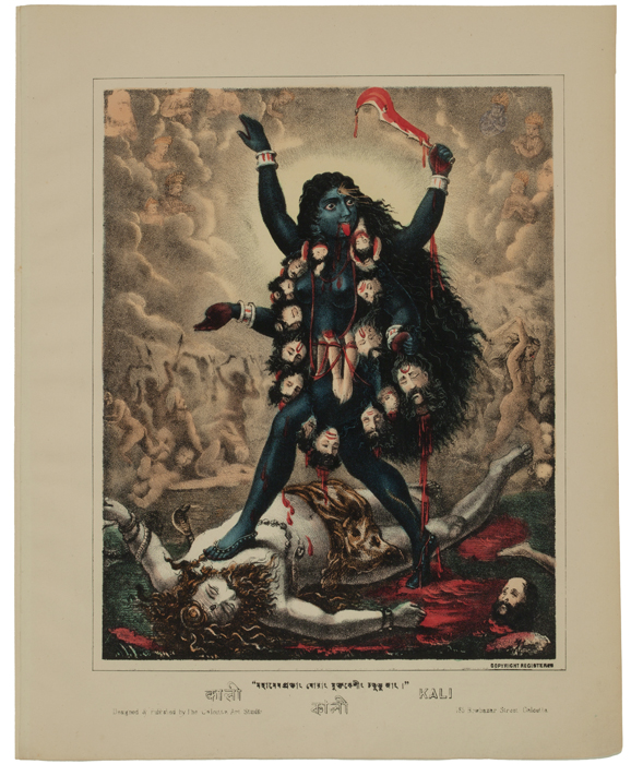 Kali. Hand-colored lithograph, 1883. Calcutta Art Studio, Calcutta