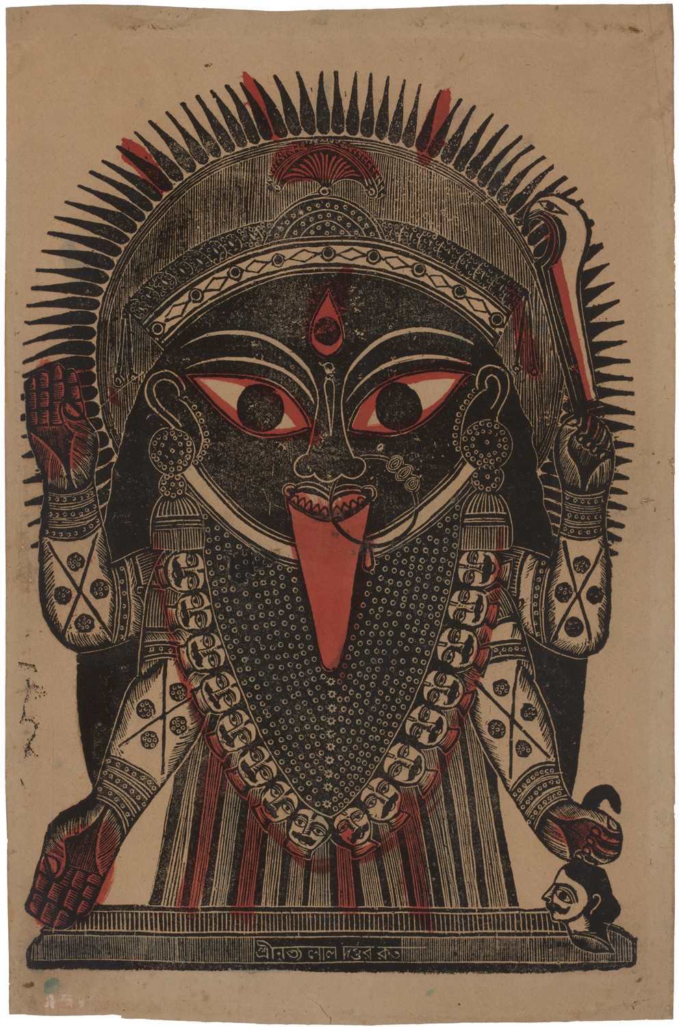 Nritya Lal Datta,  Kali  (ca. 1860–1870), woodblock print, 16 1/2 x 10 7/8 inches, Calcutta. Collection of Mark Baron and Elise Boisanté.