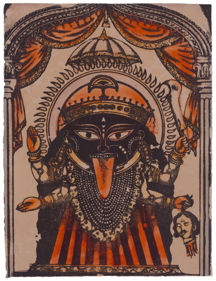 Kali  (ca. 1880), lithograph with additions by hand, 7 7/8 x 6 inches. Published by P.C. Biswas, Calcutta. Collection of Mark Baron and Elise Boisanté.
