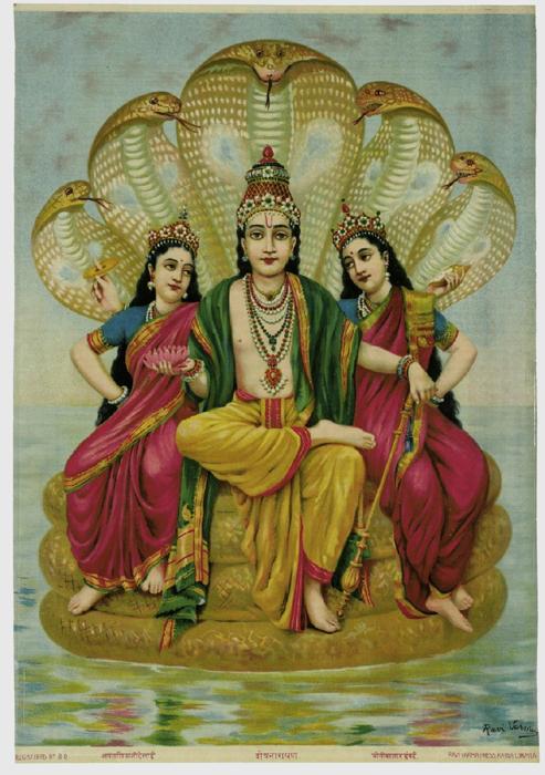 Shesha Narayana. Lithograph, c. 1910. Ravi Varma Press, Karla-Lonavla
