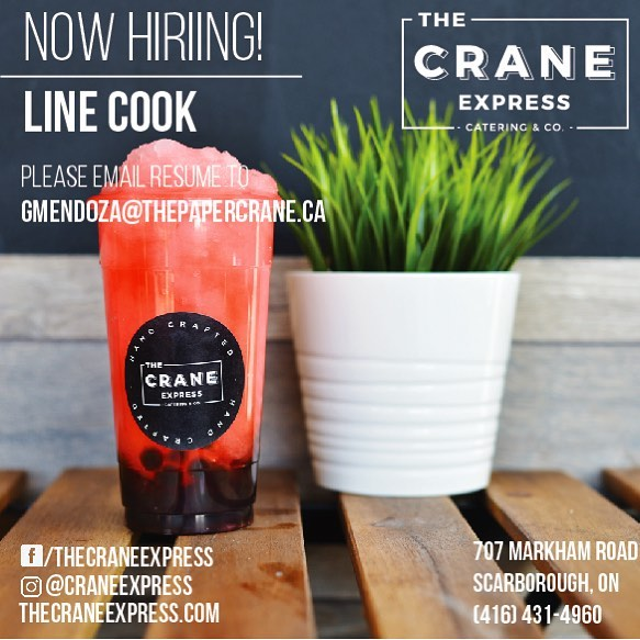 Now Hiring LINE COOK ! Apply Now and send your resume to gmendoza@thepapercrane.ca . . . . #craneexpress #papercrane #toronto #nowhiring #applynow