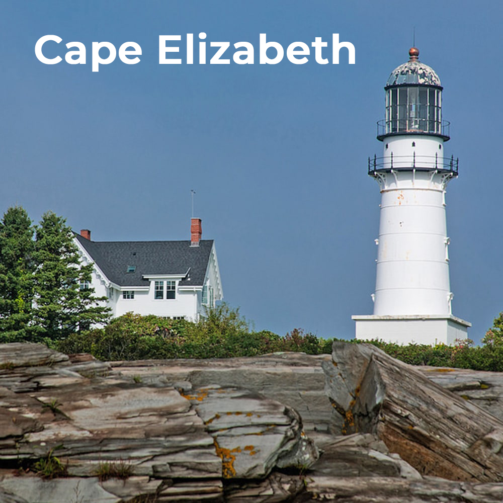 Cape Elizabeth - This beautiful coastal town is one to consider for the discriminating home buyer. Two Lights State Park, Fort Williams State Park and Crescent Beach are gorgeous attractions all within reach.Its abundant nature lends to great outdoor activities with the occasional picnic. Incidentally, the food truck at Fort Williams, called Bite Into Maine, has the best lobster rolls in the area! The most photographed lighthouse in America is right there at Portland Head Light too.Cape Elizabeth is a bedroom community primarily with residential areas and open spaces. These great attributes have a price as real estate tends to be more expensive.