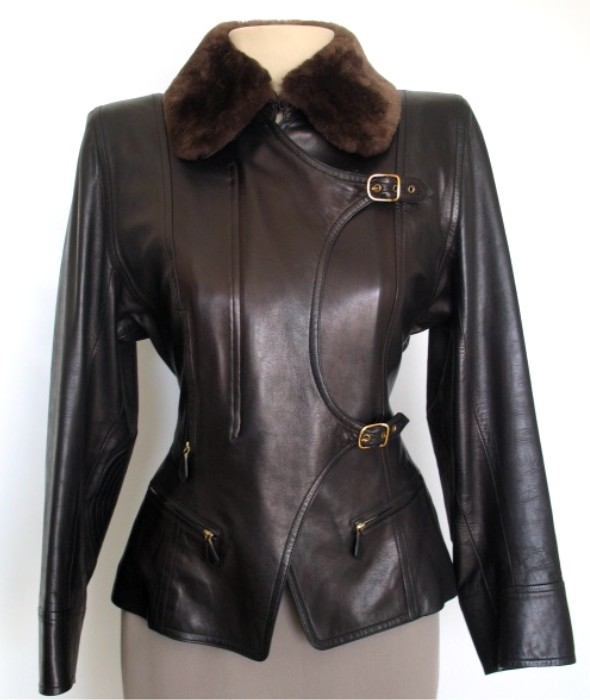 Leather is always in style. - With its cinched waist and mink collar this Hermes jacket is a must-have.