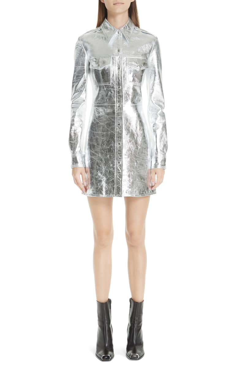 Silver Starlet - You will sparkle in this Hermes leather dress. Super!
