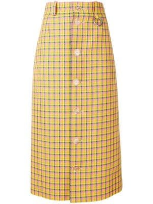 Great Belenciaga Basics - Sunshine days are here in this check-buttoned skirt.