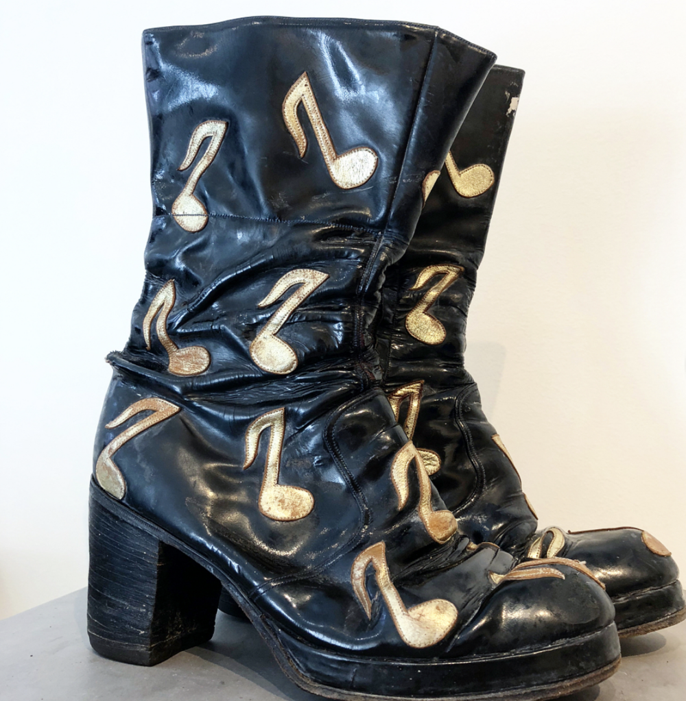 Black Patent Leather Platform Boots, ca. 1970