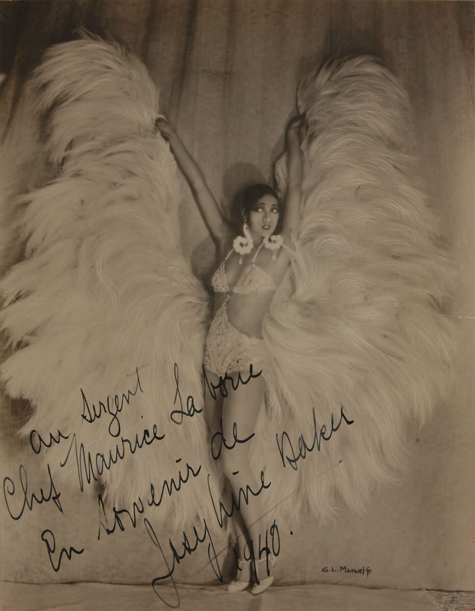 Signed Photograph in an Exotic Feather Costume, 1930/40