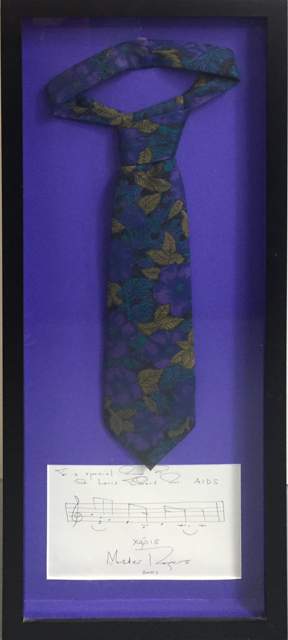 "Mister Rogers' Tie, with Autograph Musical Quotation from ""Won't You Be My Neighbor"""