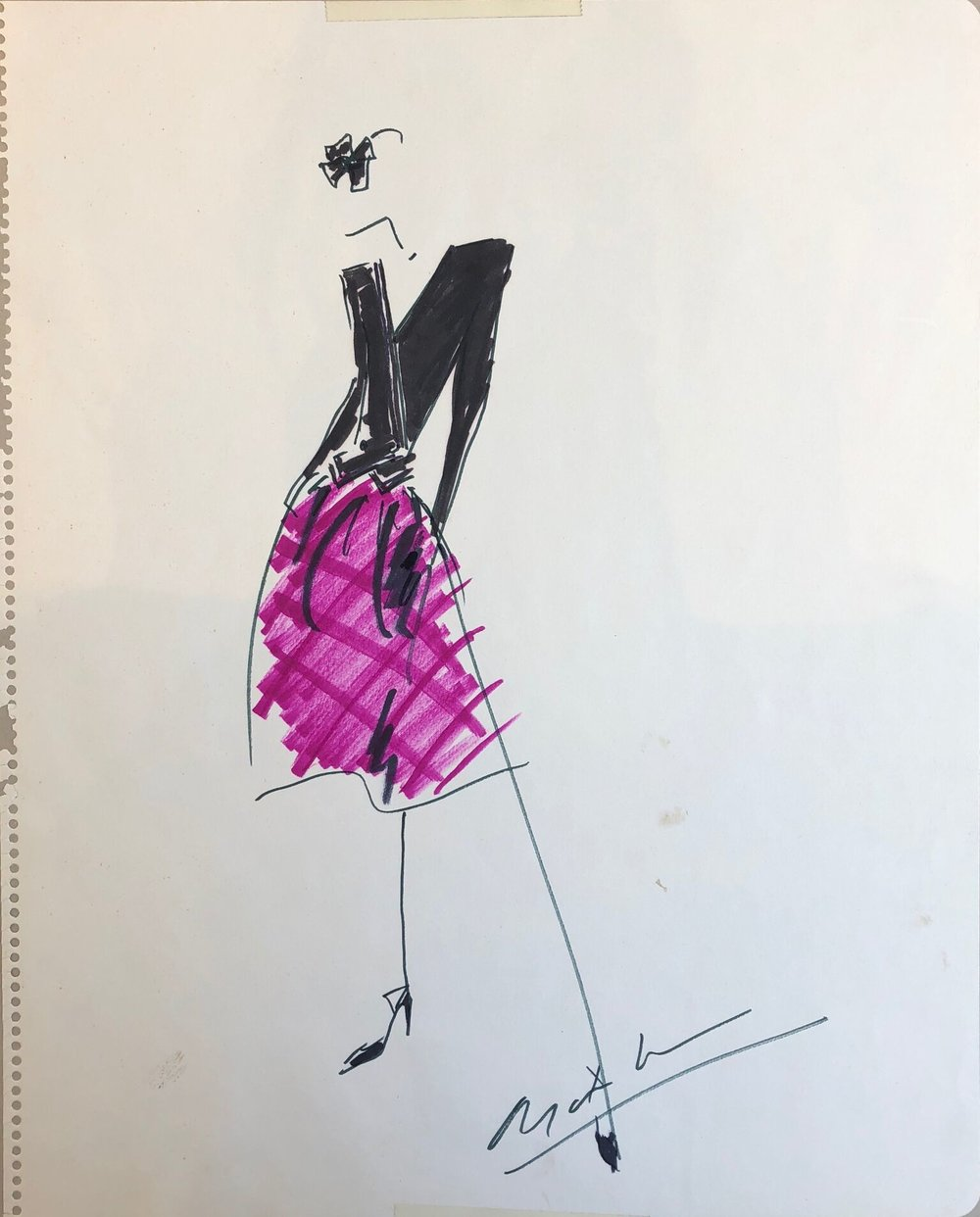 Ensembles in Pink, Green and Black - Two Signed Fashion Designs, ca. 1985